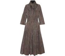 Striped Metallic Ribbed-knit Midi Dress