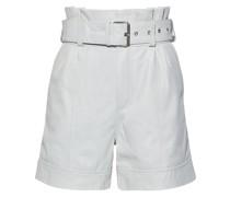 Velda Geraffte Shorts aus Leder mit Gürtel
