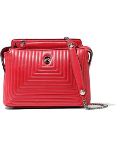 Dot Com Quilted Leather Shoulder Bag Red Size --