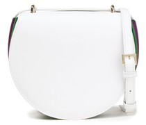 Pleated Color-block Leather And Suede Shoulder Bag