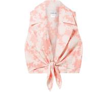 Jill Tie-front Floral-print Linen Top