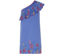 Esme one-shoulder embroidered washed stretch-cotton mini dress