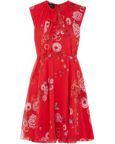 Floral-print Silk-georgette Mini Dress Red
