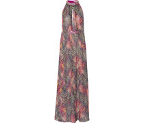 Embellished Printed Silk-chiffon Maxi Dress Mehrfarbig