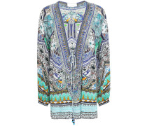 Echos Of Enchantment Lace-up Embellished Printed Silk Crepe De Chine Blouse