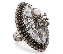 Burnished -tone, Crystal And Faux Pearl Ring