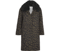 Sidgwick Shearling-trimmed Cloqué Coat Leoparden-Print