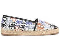 Faux leather-trimmed printed canvas espadrilles