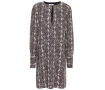 Bonnie Snake-print Washed-crepe Mini Dress