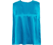 Woman Tie-back Silk-satin Top Blue