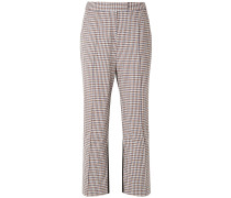 The Scrunchy Checked Wool-blend And Twill Flared Pants