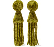 Goldfarbene Ohrclips mit Zierperlen und Troddeln