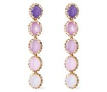 von 24 Kt. Vergoldete Ohrringe mit Kristallen und Steinen