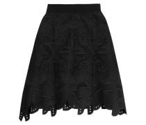 Embroidered Cotton Skirt Schwarz