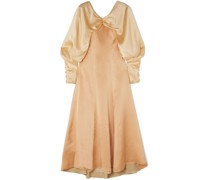 Milena Color-block Draped Hammered Silk-satin Midi Dress