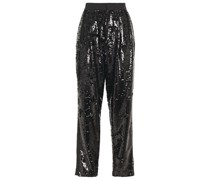 Faille-trimmed Sequined Woven Tapered Pants