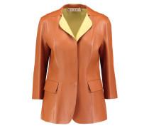 Two-tone Leather Blazer Braun