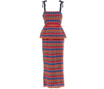 Rosalie Bow-detailed Guipure Lace Peplum Midi Dress