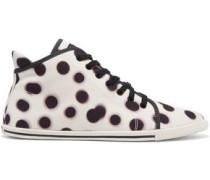 Polka-dot canvas high-top sneakers