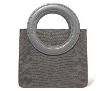 Leather-trimmed Lizard-effect Suede Shoulder Bag Anthrazit