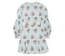 Minikleid aus Seersucker aus Einer Baumwollmischung mit Eingewebten Punkten und Floralem Print