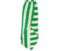 Wrap-effect striped silk crepe de chine skirt