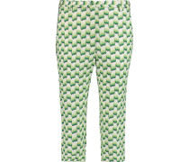 Cropped Crochet-knit Straight-leg Pants Grün
