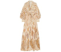 + Zandra Rhodes Francille Printed Silk Crepe De Chine Wrap Maxi Dress
