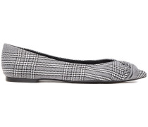 Woman Knotted Checked Woven Point-toe Flats Black