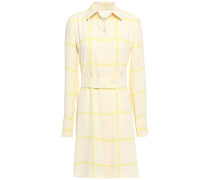 Belted Checked Crepe Mini Shirt Dress