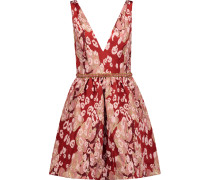 Embellished Metallic Leopard-print Brocade Mini Dress Rot