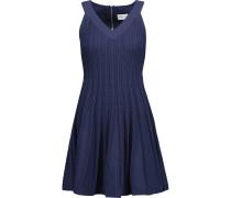 Textured Stretch-knit Mini Dress Navy