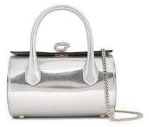 Mirrored Snake-effect Leather Shoulder Bag Silver Size --