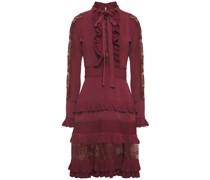 Pussy-bow Lace-paneled Ruffled Stretch-knit Dress