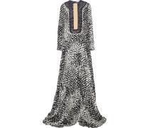 Karmel Embellished Printed Silk-georgette Gown Schwarz