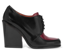 Two-tone Glossed-leather Ankle Boots Burgunder