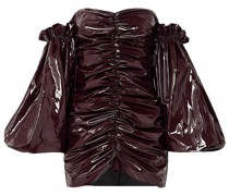 Phoebe Schulterfreies Minikleid aus Vinyl mit Raffungen