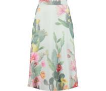 Floral-print Silk-crepe Midi Skirt Mint