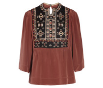 Roma Embroidered Silk Blouse	 Bronze