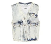 Distressed Bleached Denim Vest