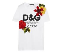 Embellished printed cotton-jersey T-shirt