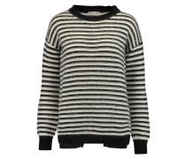 Worth Wrap-effect Striped Textured-knit Sweater Schwarz