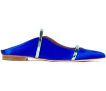 Maureen Metallic Leather Trimmed Satin Point-toe Flats