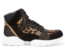 Paisley Suede, Leather And Printed Calf Hair Sneakers Schwarz