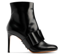 Bow-embellished Glossed-leather Ankle Boots