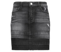 Leila Distressed Denim Mini Skirt Schwarz