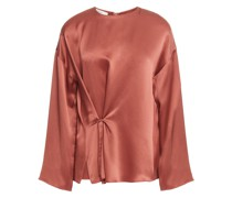 Gathered Silk-satin Blouse