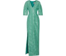 Metallic Cotton And Silk-blend Gown Jade