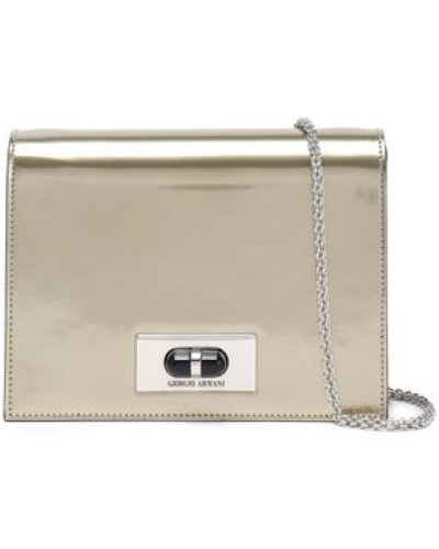 Mirrored Leather Shoulder Bag Brass Size --