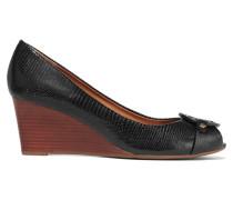 Mini Miller Textured-leather Wedge Sandals Schwarz